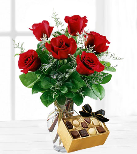 Six Red Roses with Chocolates